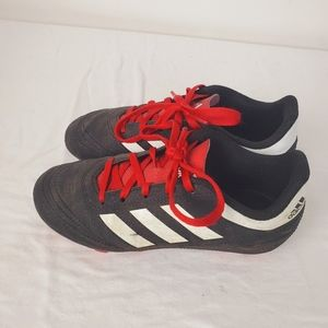 Adidas Lace Up Soccer Cleats Black Red Boys Size 1